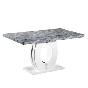 Shankar Marble Top Effect 150cm Dining Table - Highly Polished Chrome Base