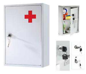 Medical Cabinet First Aid Cupboard Box Medicine Kit Lockable Wall Mounted