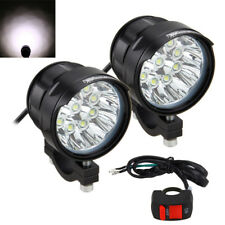 Pair 90W 9000LM Motorcycle 9x XML T6 LED Headlight Fog Driving Spot Light+Switch