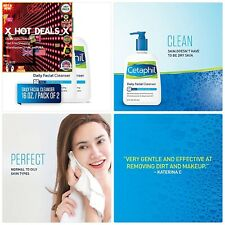 Cetaphil Daily FACIAL CLEANER For Normal to Oily Skin 16 Ounce+Pack of 2+US BEST