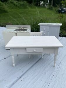 Miniature Dollhouse 1:12 Scale Sink, Cabinet, Table & Chair Set