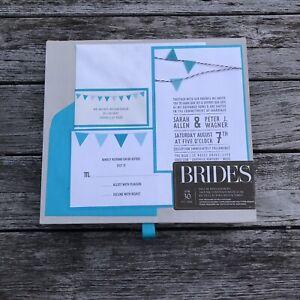 BRIDES®  Pocket Wedding Invitation Kit, Set of 30 Printable Invitations New Blue
