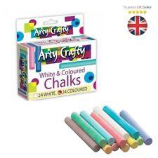 48 Pcs -  Mixed Colour & White Chalk Sticks Kids Playground School Art Learning