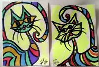 Aceo abstract OUTSIDER ORIGINAL Primitive Folk Bipolar Brut Cat Kitten Colorful