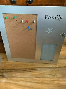 """SILVER AND CORK MESSAGE / NOTICE BOARD - WITH PHOTO INSERT - 15"""" X 15"""" -MAGNETIC"""
