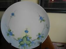 "Nippon Crown Hand Painted Plate Blue Forget-Me-Not Flower Vintage 8 3/4"" D"