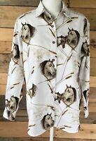 Gallop women's brown tan white horse heads western long sleeve cotton shirt M
