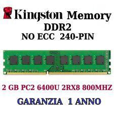 2 GB (1X2GB)MEMORIA/RAM KINGSTON DDR2 PC2 6400U 2RX8 800MHZ 240-PIN ALTA DENSITÀ