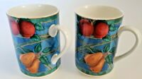 """Victoria Beale Forbidden Fruit Set of TWO Mugs 4-3/8"""" All Over Fruit"""