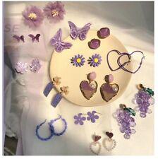 Fashion Cute Purple Flower Earrings For Women And Girls