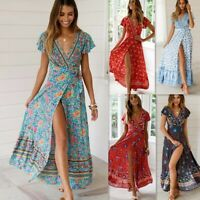 UK Women Wrap Boho Floral Paisley Maxi Dress Ladies Summer Holiday Beach dersses
