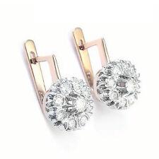 14k Rose & White Gold Genuine 1.80ct. Diamond Russian style Malinka Earrings