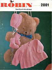 "Robin 2001 Vintage Baby Girls Knitting Pattern 3 ply 18-20"" 9-18 months"