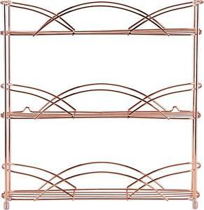 Copper Rose Gold Spice Rack Herb Jar Cabinet Shelf Storage Kitchen Organisation