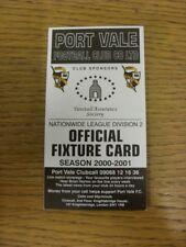 2000/2001 Port Vale: Accesorio oficial Folleto-cuatro páginas (con los resultados se indique).