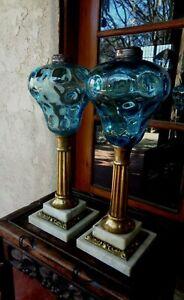 Pair Antique Aqua  Blue Thumb Print Glass Whale Oil Lamps Brass Stone