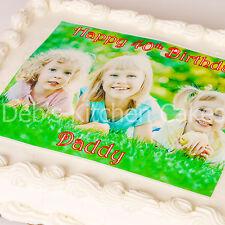 """Su propio Personalizado Foto + mensaje Cake Topper Comestibles De Oblea de 8 """"x 10"""" rectángulo"""