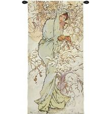 FOUR SEASONS Alhonse Mucha Wall Tapestry Painting Winter in pastel colors