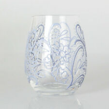 Xpressions 4 U  STEMLESS TUMBLER DRINKING GLASS GIN WINE COCKTAILS - Blue Floral