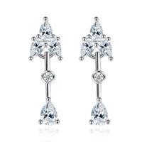 925 Sterling Silver Stud Earrings Crystal Arrow Shape For Women Fashion Jewelry