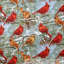BonEful FABRIC FQ Cotton Quilt VTG Blue Red Cardinal Bird Tree Scenic Snowflake