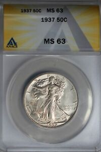 1937  .50   ANACS  MS 63  Walking Liberty, Half Dollar, Lady Liberty Half