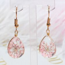 1Pair Women Transparent Crystal Ball Glass Dried Flower Drop Earrings Jewelry