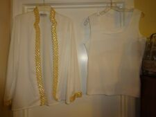 Teddi of California 2 Piece Ladies Large Tank Cami & Jacket White with GOLD Trim