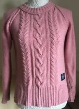 Womens Woollen Superdry Pink Winter Ski Jumper, Nordic Style Size Xs