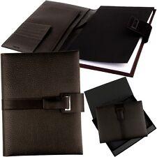 HUGO BOSS A5 Leder-Schreibmappe Braun, Magnet-Schließe Notizmappe Konferenzmappe