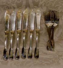 Posate pesce Sheffield Violino Rigato Fiddle Thread Fish Set F Timm & Co. c1860