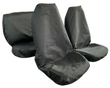 Waterproof Canvas Throw Over Slip On Black Car Seat Cover Full Set Front Rear