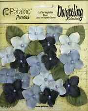 BLUE 18 HYDRANGEAS Paper Flowers 25-35mm & 6 Leaves 25x30mm Darjeeling Petaloo