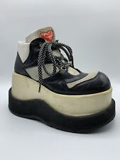 VTG 90s y2k LUICHINY Black White Heart PLATFORM Sneakers Raver Spice Girls 7