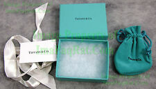 """Tiffany & Co. Authentic Jewelry Box Suede Draw String Pouch Ribbon Card 3¾"""" x 3"""""""