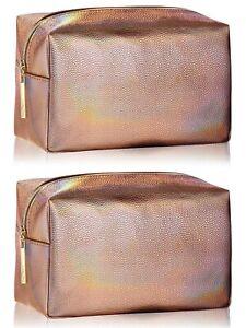 LANCOME Shiny bronze gold Iridescent metallic Makeup Bag Case Toiletry set x 2