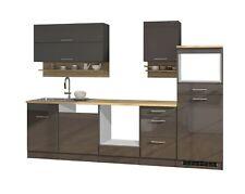 Küchenzeile ohne Geräte Einbauküche ohne Elektrogeräte Küchenblock 280 cm grau