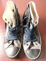 converse all star hi top leather black grey size 9.5 UK  9Z 08 08 Z39