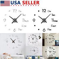 Wall Clock Quartz Stickers 3D Frameless Modern DIY Round Black Living Room Decor