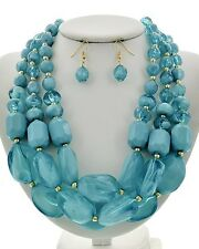 Bold Chunky Pacific Blue Ice Cube  Faceted Bead Fashion Statement Necklace Set
