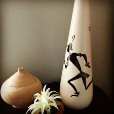 Hand-painted Hand-crafted Signed White & Black Ceramic Tribal Bud Vase