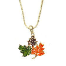 Colorful Maple Fall Leaves Pendant Necklace Thanksgiving Halloween Jewelry