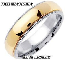 6MM WIDE MENS 10K WHITE AND YELLOW GOLD WEDDING BANDS