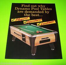 DYNAMO POOL TABLES NOS ORIGINAL VINTAGE FOLD-OUT SALES FLYER BROCHURE