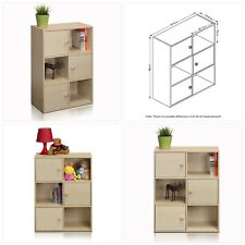 Furinno Pasir 3 Tier Shelf with 3 Door/Round Handle, Steam Beech
