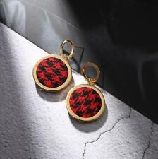 CG2290...RED & BLACK HOUNDSTOOTH TWEED COVERED EARRINGS - FREE UK P&P