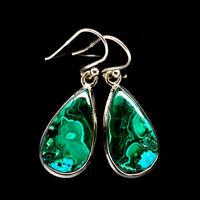 """Malachite In Chrysocolla 925 Sterling Silver Earrings 1 3/8"""" Jewelry E399506F"""