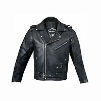 UK New Boys Real Leather Jacket Black Genuine Biker Style Coat Kids Zip Buckle