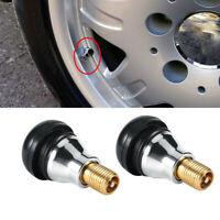 4x Durable Black Rubber Wheel Tire Valve Stems Hot Great Complete w/ Chrome Caps