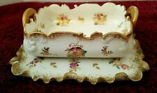 Antique 2 American Belleek Willets Floral Gilded pin dish & small plate